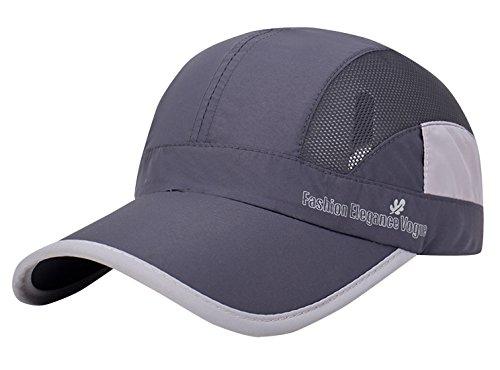 Aieoe Schnelltrocknend Sommer Kappe Atmungsaktive Sport Caps Outdoor Sonnen-Kappe für Wandern, Bergsteigen, Joggen, Radfahren usw - Grau