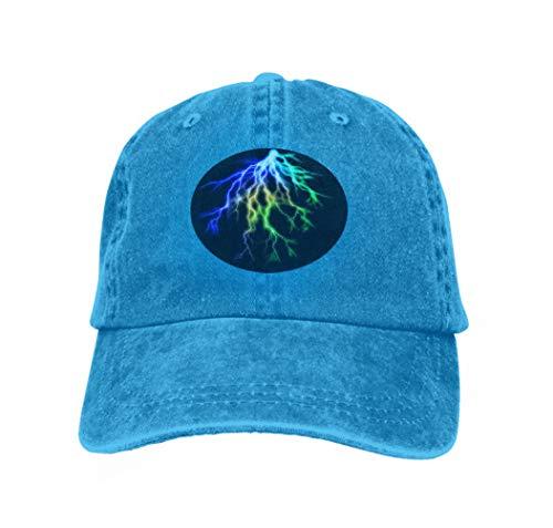 Unisex Adjustable Flat Hat Baseball Caps Lightning Black Intense Bolts Alien Background Coloblue Blue