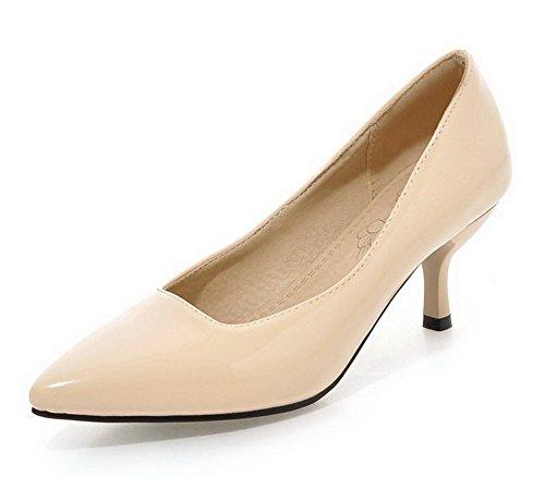 AllhqFashion Damen Mittler Absatz Ziehen Auf Lackleder Spitz Zehe Pumps Schuhe, Aprikosen Farbe, 35