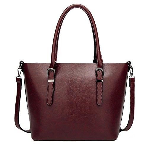 PB-SOAR Damen Vintage Elegant Henkeltasche Schultertasche Ledertasche Shopper Umhängetasche Handtasche (Blaugrau) Dunkel Rot