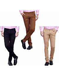Nimegh Black, Brown And Beige Color Cotton Casual Slim Fit Trouser For Men's (Pack Of 3)