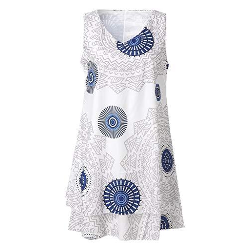 TYTUOO Frauen Midi Kleid Plus Size Print Midi Kleid Loose Shift Sleeveless Tank Vest Sun Dresses