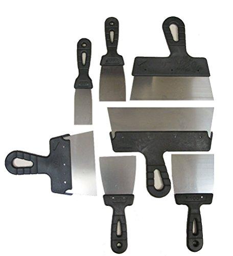 Spachtel Set 7-teilig Edelstahl Spachtel Set 7-teilig, Ideal für Gipskarton und Streichmesser Putz, Klebemontage, ergonomischer griff, 40mm 60mm 80mm 100mm 150mm 200mm 250mm
