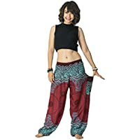 Longra- 2018 Pantalones Populares de Moda Pantalones Harem Tailandeses Pantalones de Boho Festival Hippy Smock de Cintura Alta Yoga (Tamaño libre, Vino)