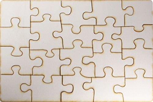 le selbt gestalten und bemalen, leeres Puzzle aus Holz, Blanko-Puzzle, 20 Teile, ca. 290 x 195 mm, unbehandeltes Schichtholz ()