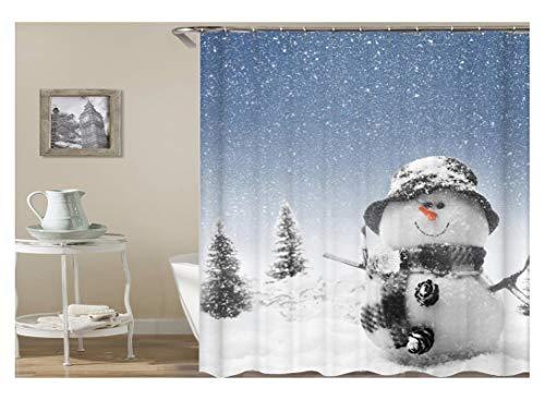Coniea Badvorhang Anti-Schimmel Weihnachtsthema Schneemann Im Winter Duschvorhang Weiß Badvorhang Anti-Schimmel 180X180Cm