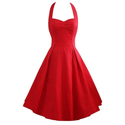 iLover Damen Marilyn Vintage Retro Cocktail Abschlussball Kleider 50er 60er Rockabilly Neckholder Rot