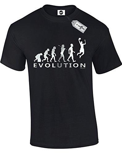 Evolution of Man Basketball-T-Shirt, inspiriert von Michael Jordan, kurze Ärmel, silberfarbener Aufdruck, Schwarz Gr. 5-6 Jahre, BLACK-Kids (Jordan 5 Shirt)