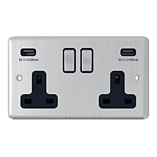 Satin Chrome Classical 2 Gang Socket w/ USB Charging Ports Black Insert Metal Rocker Switches - Alliance Electrical 13 Amp Double Plug Socket & Dual USB Power Outlet