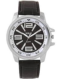 M&H® Branded Black Dial Black Leather Belt Analogue Quartz Movement Watches For Men - W1078BBXZXZ