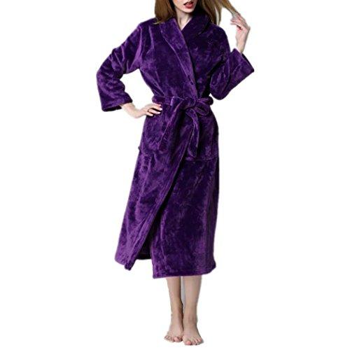 VENI MASEE Paar Liebhaber Morgenmantel Robe weiche Koralle samt Bademantel Springs Spa Nachthemden verdickt lange Robe (S-XL) (Damen-lang-spa-robe)