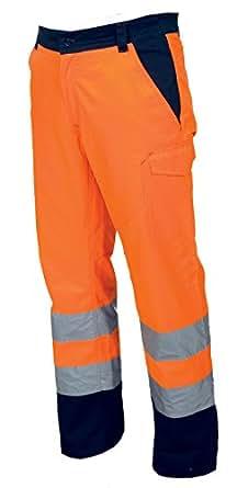 Pantalone da Lavoro Bicolore Alta Visibilità Con Bande Riflettenti Charter, Colore: Arancio Fluo, Taglia: S