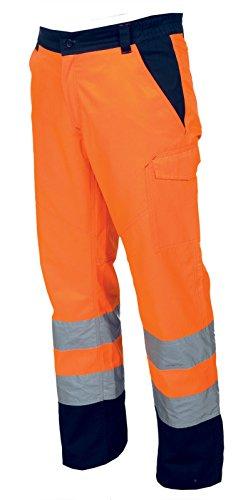 Pantalone da lavoro bicolore alta visibilità con bande riflettenti charter, colore: arancio fluo, taglia: m