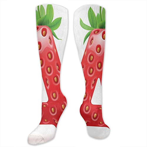 Unisex Highly Elastic Comfortable Knee High Length Tube Socks,Letter A In Strawberry Style With Green Leaves Alphabet Fun Food Theme,Compression Socks Boost Stamina,Vermilion Green Orange