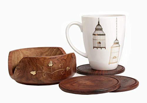 Elegante intagliato a mano in legno Coasters Set di 6 In Supporto 8.89 cm con...