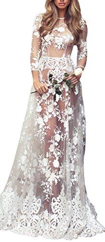 Smile YKK Robe Transparente Femme Dentelle Robes Longues Mariage Soirée Cérémonie Banquet Blanche Blanc