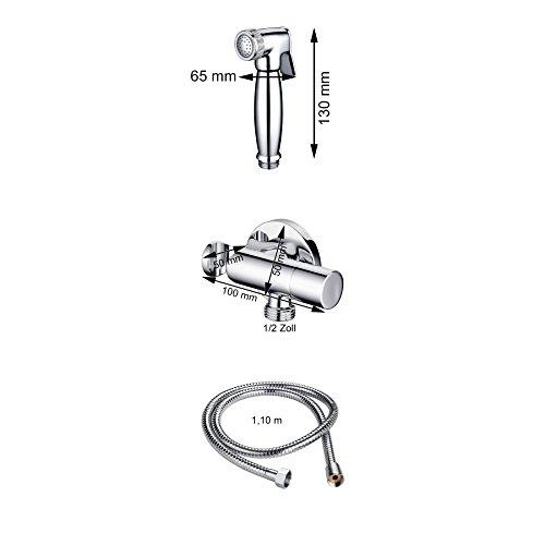 Burgtal 17738 Fia Bidet Kaltwasser Armatur Set AS-10 inkl. Arabic Shower und Schlauchbrause