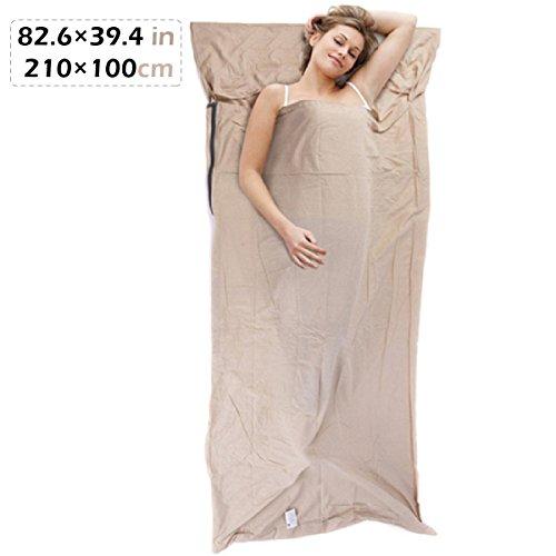 TRIWONDER Sleeping Bag Liner Travel Camping Blatt für Hotel, leichte Baumwolle Schlaflaken Innen für Sleepsack (Leinen - 82,6 x 39,4 Zoll) (Das Blatt Menschen, Bettwäsche)