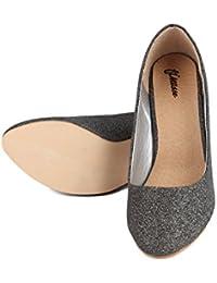Finesse Women's Black Designer Casual PU Formal Heels