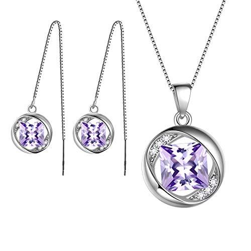 AuroraTears Dezember Birthstone Schmucksets 925 Sterling Silber Lila Türkis Geburtsstein Halskette und Ohrringe Set Geschenke für Frauen und Mädchen DS0029D
