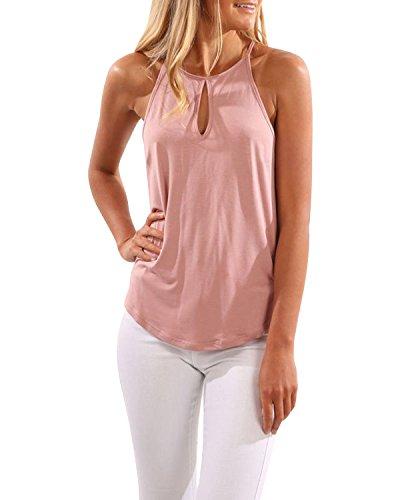 CNFIO Oberteil Damen Top Sommer Ärmellos Oberteile Tank Tunika Crop Basic Schlinge T-Shirt Blusen A-rosa EU36-38 / S - Rosa Bluse Shirt