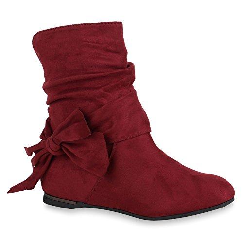 Stiefelparadies Damen Stiefeletten Keilstiefeletten Leicht Gefüttert Wedges Schuhe 150002 Dunkelrot Agueda 38 Flandell
