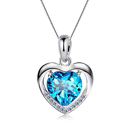 """Damen Halskette 925 Sterling Silber mit Herz Anhänger mit SWAROVSKI Herzkette, Ein Symbol der """"Mein Herz ist bei dir"""", Geschenk für Freundin Damen (Blau)"""