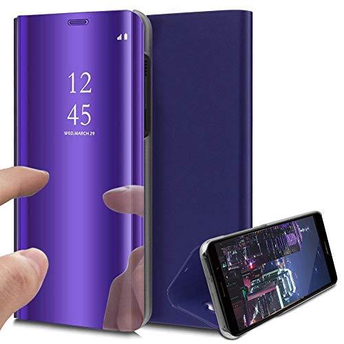 HMTECH Funda Samsung Galaxy A40 Funda Espejo Mirror Libro Flip Soporte Plegable Espejo Enchapado Ultra Delgada Window View Delantera y Trasera Completa Protectora Carcasa,Mirror PU Purple