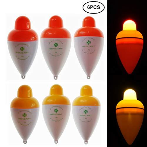 RUNACC LED Leuchtposen Nachtbeleuchtung Angelpose Bobber Vertikale Angeln Bobber mit 6 CR2032 Knopfbatterien, 6er-Set