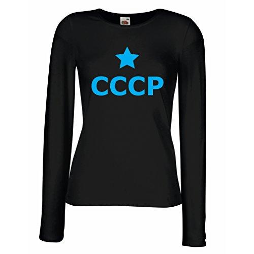 lepni.me Weibliche langen Ärmeln T-Shirt UdSSR - Stern, СССР Russland, Weinlese politisches russisches Hemd (X-Large Schwarz Blau) (Fitted T-shirt Alaska)