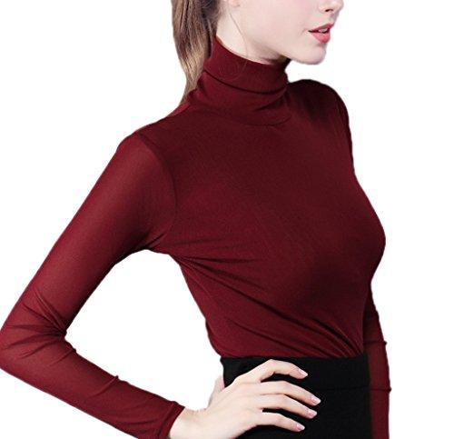 Smile YKK T-shirt Femme Tulle Pull Manches Longues Blouse Top Chemise Col Montant Amincissant Bordeaux