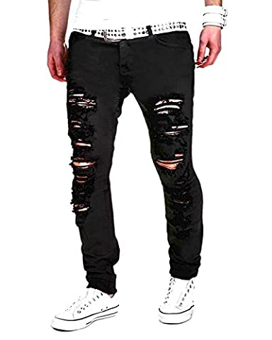 Tomsent 2017 Homme Skinny Trou Biker Jeans Straight Fit Déchiré Styles Destroyed Denim Slim Fit Serré Pantalon Men pants Noir EU S