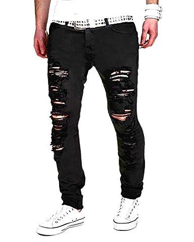 Minetom Homme Skinny Trou Biker Jeans Straight Fit Déchiré Styles Destroyed Denim Slim Fit Serré Pantalon Noir EU L
