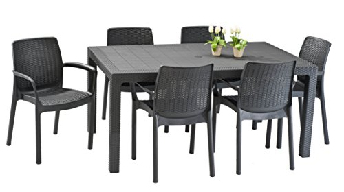 Keter Melody Outdoor Garden Furniture Rectangular Patio Dining Table
