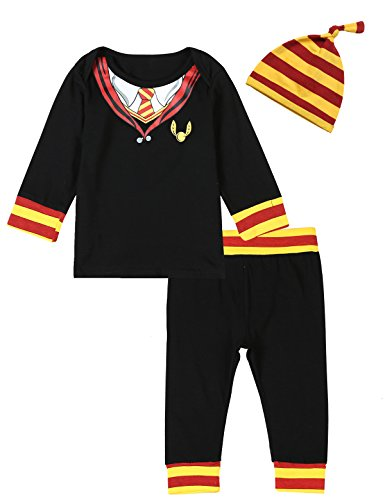 3PCS Baby Boys Girls Outfit Set Snuggle This Muggle Romper + Pants + Hat (0-3 Months)