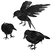 Halloween Crow Decorations - Realistic Handmade Crow Black Feathered Crow, Halloween Crows and Ravens Decor, Scary Black Ravens Birds for Outdoors and Indoors Halloween Decor