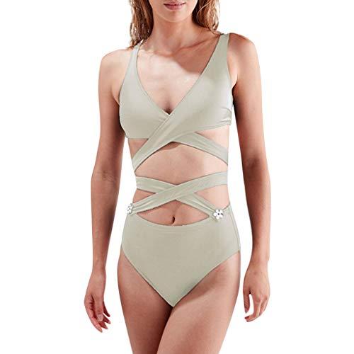 TOPKEAL Damen Bikini Set Bademode Badeanzüge Bikinis für Frauen Bandeau Push up