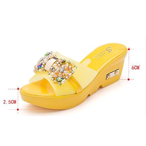 Confortable Chaussons en cuir Outre les pantoufles sexy Augmenter les pantoufles inférieures de la chaussette froide Pente avec des pantoufles en diamant (4 couleurs en option) (taille facultative) Au A
