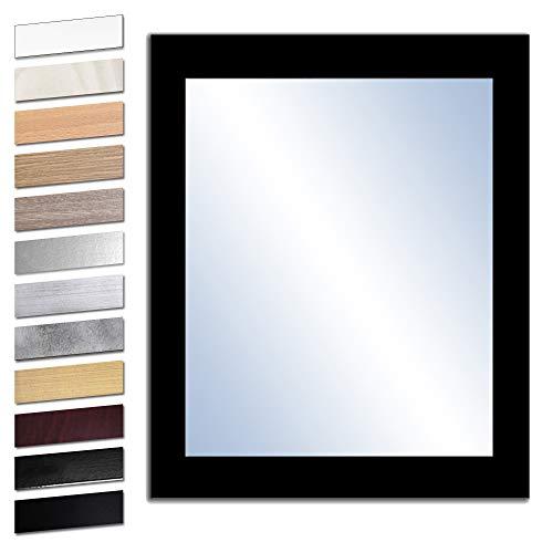 Bilderdepot24 Wandspiegel Spiegel Badspiegel Holzrahmen komplett mit Echtglas - SCHWARZ - ca. 50x40 cm
