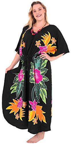 La Leela Bademode Badebekleidung Rayon Abend aloha Nachtzeug Kaftan loses Kleid der Frauen Schwarz