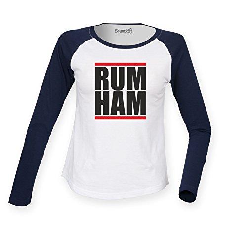 Brand88 - Rum Ham Damen Langarm Baseball T-Shirt Weiss & Blau