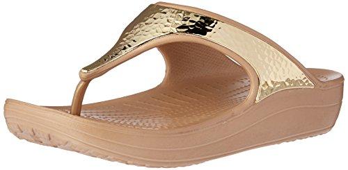 crocs Damen Sloane Embellished Sandalen Flipflops, Vergoldet (Gold/Metallic), 39/40 EU (Crocs Womens Capris)