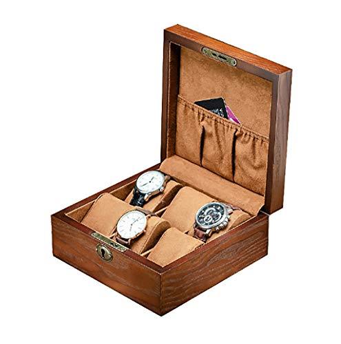 SSHZ SSHZ-YJ Herren Holz Uhrenbox Uhr Massivholz Uhr Schmuck Aufbewahrungsbox Sammlung Box Uhrenbox Organizer Fluff Futter
