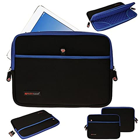 TECHGEAR® [SENTINEL PRO Sleeve (10)] - Étui, Housse, Sacoche de Protection Zippée en Néoprène avec Compartiment à Bulles Anti-Choc pour Apple iPad 4, 3, 2, 1, iPad Air, Air 2, Samsung Galaxy Tab A 9.7, Tab 4 10.1, Tab 3 10.1, Tab E 9.6, Tab S 10.5, Tab S2 9.7, Acer Iconia Tab 10, Asus MeMo Pad 10, Asus ZenPad 10, Google Nexus 9, etc [BLEU]