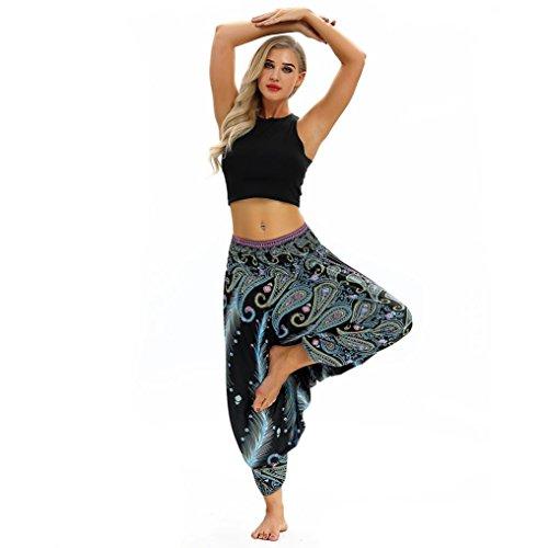 Pantalon Unisexe De Yoga en Vrac Baggy Boho Aladdin Jumpsuit Sarouel SANFASHION(Bleu5,Taille Unique)