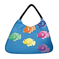 Snoogg A Vector Image Of Jellybean Or Parrot Cichlid Fish In Bright Colours Beach Tote Shopper Bag Handbag Shoulder