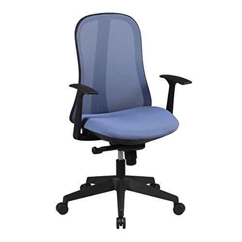 AMSTYLE Bürostuhl STYLE Stoffbezug Schreibtischstuhl höhenverstellbar Armlehne ergonomisch verstellbar blau Chefsessel Design 120kg Drehstuhl Synchronmechanik hohe Rücken-Lehne XXL Hochlehner Stoff