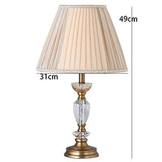 AME Tischlampe Nordic Schlafzimmer Nachttisch Licht Kristall Tischlampe Moderne minimalistische Tischlampe Plissee Lampenschirm Warm, Orange Farbe, H49Cm * W31Cm