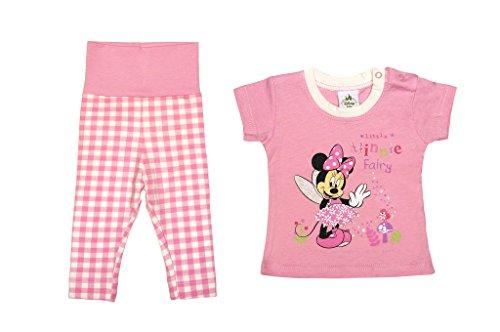Disney Minnie Mouse Mädchen BABY-SET 2-teilig in GRÖSSE 56, 62, 68, 74, 80, T-Shirt KURZÄRMLIG mit langer Hose, Baby-Schlafanzug, Spiel-Anzug, ideal für Freizeit oder Strand Farbe Rosa, Größe 56 (Kleid Shirt Drücken)