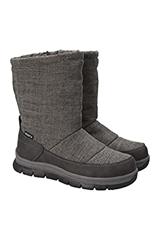 Mountain Warehouse Chalet Slip on Womens Snowboot - Waterproof, Durable & Breathable Textile Upper with Maximum Comfort, Isotherm Technology for Extra Warm Grey 7 UK